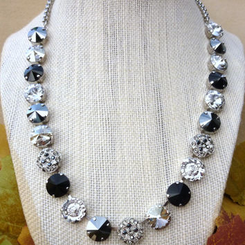 "NEW Swarovski crystal necklace, ""Midnight Tango"" collection, black and clear,  embellished, designer inspired Siggy bling"
