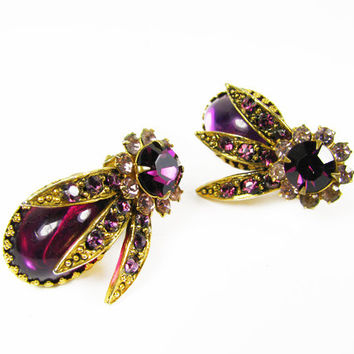 Vintage Purple Rhinestone Earrings, Clips / Vintage Wedding - Boucles d'Oreilles.
