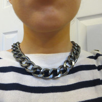 Thick and Chunky Gunmetal Chain Necklace