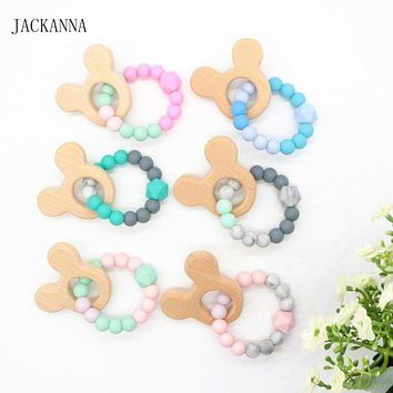 Silicone Teething Ring, Infant Baby Bracelet Silicone Teethers, Organic Wood Teether Beaded Bangle, Newborn Kids Chew Toys