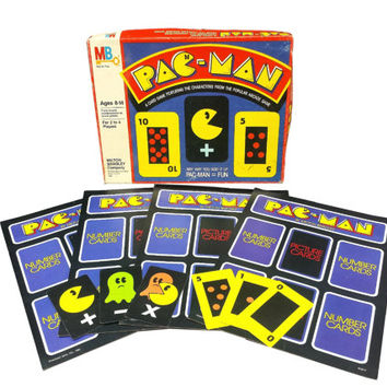 Vintage Pac Man Card Game, 1980s Arcade, Milton Bradley, Retro Family Game Night, Pacman Ghost, Ephemera, Crafts, Collage, Mixed Media