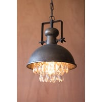 Kalalou CLL1122 Metal One-Light Dome Pendant with Hanging Crystal