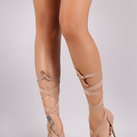 Qupid Suede Leg Wrap Peep Toe Stiletto Heel