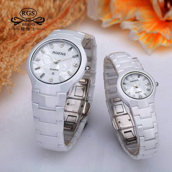 business men women ceramics watch fashion white black female male couple clocks quartz casual waterproof luxury Diamond 5503
