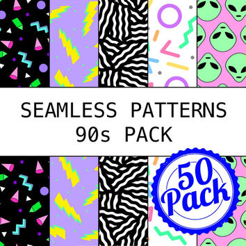 Printable Seamless Patterns - 90s Pack - Digital Scrapbook Paper