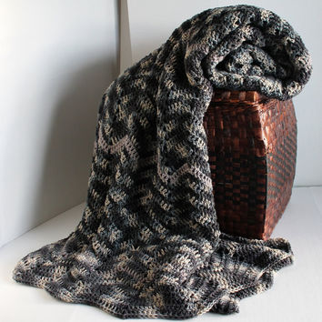 Afghan - Queen Sized Handmade Classic Ripple Blanket - Urban Camo and Pewter Grey