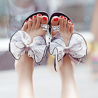 Bow Diamonds Fashion Women Sandals Flats Shoes
