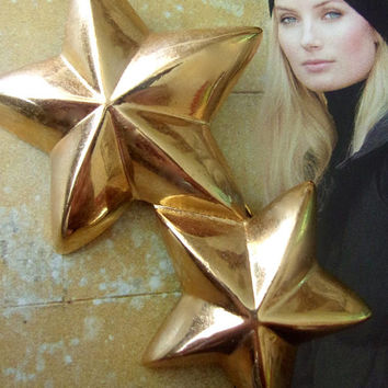 GIVENCHY Gold Double Star Brooch, 3D Relief, Signed, Vintage