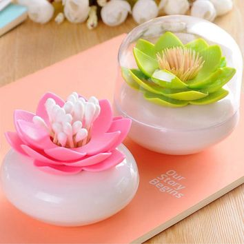 Hot Creative Lotus Cotton Swab Box Cotton Bud Holder Case Decorate Toothpicks Holder Case Makeup Storage Cosmetic Bath Box