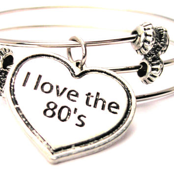 I Love The 80S Heart Triple Style Expandable Bangle Bracelet