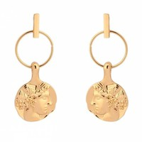 Circle Design Alloy Face Earrings