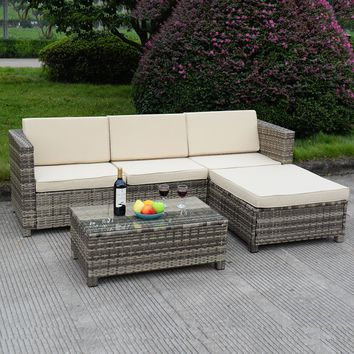 5 PC Outdoor Patio Rattan Furniture Set Sectional Cushioned Galvanized Gray NEW
