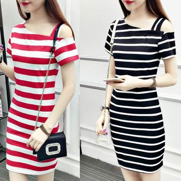 New word collar slanting shoulder cotton striped long dress off-shoulder short-sleeved slim slimming hip dress