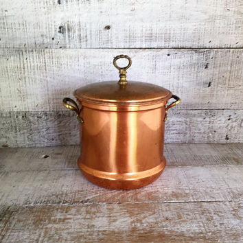 Copper Ice Bucket Mid Century Copper and Brass Ice Bucket Metal Ice Cooler Brass Barware Copper Pot Cart Mid Century Bar Decor