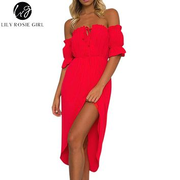 Lily Rosie Girl Off Shoulder Red Sexy Ruffles Dress Women Short Sleeve Lace Up Summer Beach Maxi Long Party Dresses Vestidos