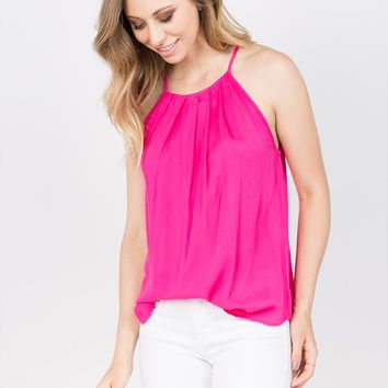 Sleeveless Gather Neck Top in Hot Pink