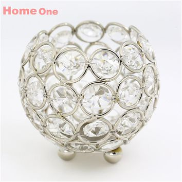 Gold candle holders 8cm crystal ball candlestick candle lantern