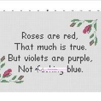 Roses are red... counted cross stitch chart/pattern *mature humour/content*