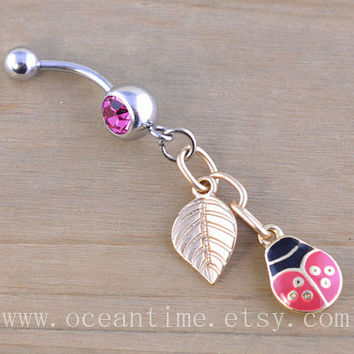 beetle and leaf Belly Button Rings,beetle Navel Jewlery,belly button ring,leaf,cute ring,bestfriend belly button ring