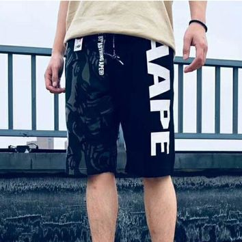 Aape Summer fashion new camouflage print Splice couple shorts Black