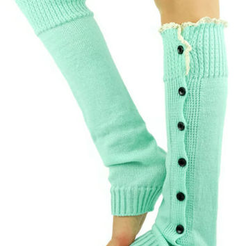 LACE Leg Warmers MINT Blue Green sexy boot lace socks button slouchy style women