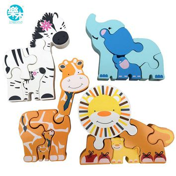 Baby Wooden toys 3d metal Puzzle Wooden Animal Puzzle 2-4 years Baby Educational Toys Puzzle for children gifts