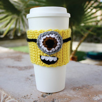 Despicable Me Minion -ish Travel Coffee Cup Cozy - One - Eyed Minion Eco - Friendly Crochet Sleeve