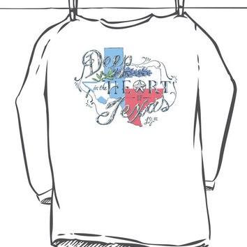 Heart of Texas Long Sleeve Tee, White by Lauren James