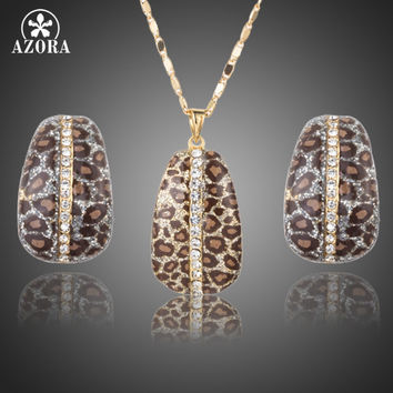AZORA Gold Color Leopard With Stellux Austrian Crystal Clip Earrings and Pendant Necklace Jewelry Sets TG0204