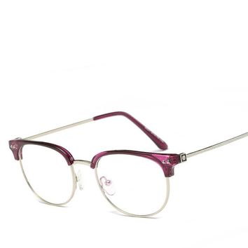 New Fashion Retro Half-frame Glasses Frame Men Women Optical Glasses With Clear Glass Transparent Glasses Women's Frame 5031