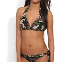 Bikini Bottom with Camo Print and Stud Details
