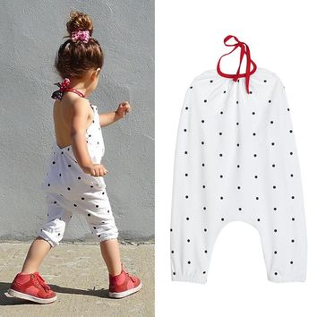 Baby Girls Backless Dot Overalls 2017 Summer Kids Children Girls Jumpsuit