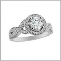 9/10 ct tw Round Cut Diamond Engagement Ring with Round Diamonds in 14K White Gold - Side-Stones - Engagement Rings