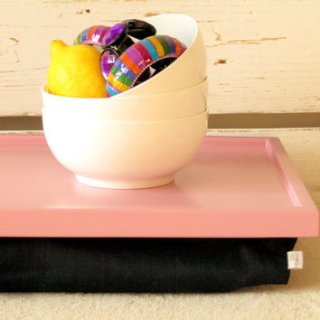 Breakfast serving or Laptop Lap Desk- Pink with Black Linen fabric pillow