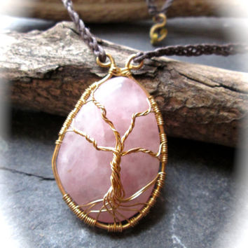 Tree of Life Necklace Rose Quartz, Gold Plated Wire Wrap Gemstone on Celtic Braided Eco-Friendly Cotton, Chunky Pendant, Yggdrasil Kabbalah