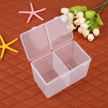 Clear Plastic Cotton Swab Storage Box Cosmetic Makeup Removal Cotton Pads Organizer Nail Art Polish Gel Remover Holder Box