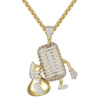 Custom Microphone Holding Money Bag Iced Out Pendant