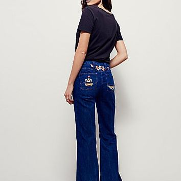 Free People Womens Heartbreaker Embroidered Flare