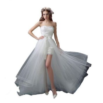 Lace Wedding Dress Beach Bridal Gowns Removable Train Short Front Long Back Wedding Dresses
