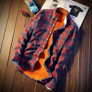 Plaid Shirt Men Winter Flannel Shirts Long Sleeve Dress Shirts Camisa Social Masculina New Mens Casual Slim Fit 5XL Velvet Shirt