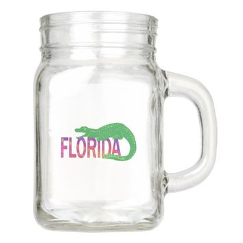 Florida Alligator Mason Jar