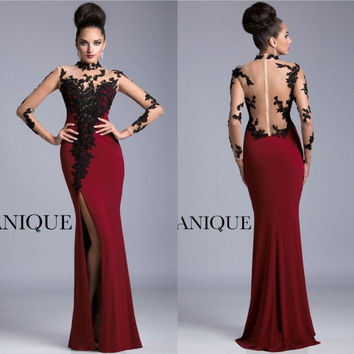 Long Sleeve Maroon Prom Dresses See Through Black Appliques Side Slit High Neck Formal Mermaid Evening Gowns