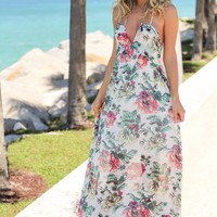 Ivory and Green Floral Maxi Dress with Tie Back