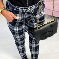 New Blue Plaid Sashes High Waisted Casual Long Pants