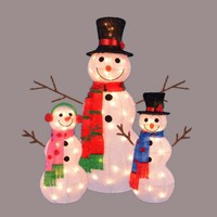 """Set of 3 Lighted Tinsel Snowman Family Christmas Outdoor Decorations 35"""""""