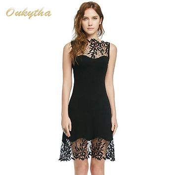 Summer Dress Vintage Style Dress Sexy Lace Stitching Pierced Solid Color Classic Black Slim Short Dress Sleeveless Dress  M15121