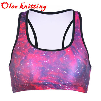2016 women's sexy padded bra crop tops 3D space red galaxy aurora skye sporting energy bra runs jogger push up vest bras