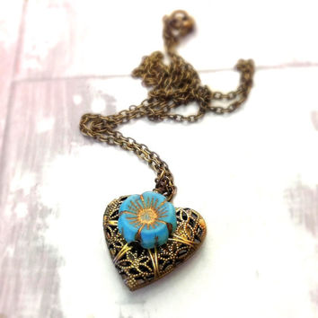 Antique heart locket necklace, filigree locket necklace, czech glass flower charm, boho locket necklace, mothers day gift, bridesmaids gift