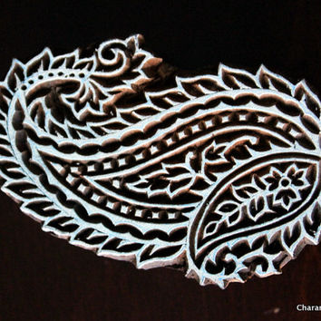 Indian Wood Block Stamp, Tjaps, Hand Carved stamp, Pottery stamp, Textile Stamp- Paisley