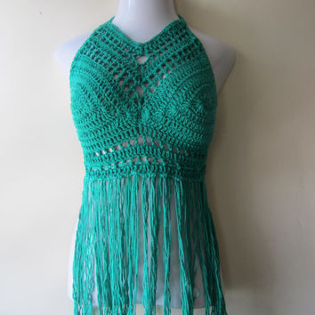 Festival top, ELONGATED fringe halter, bikini cover, beachwear, summer top, gypsy, Boho chic, MOD GREEN, cotton yarn